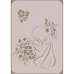 Sablon - Domnisoara cu flori