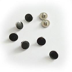 Nasturi 11mm, cu piciorus - Negru cu argintiu