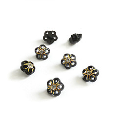 Nasturi 12mm, cu piciorus - Flori negre cu auriu si stras