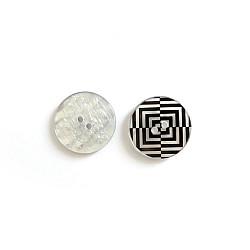 Nasturi cu doua gauri si model alb/negru - 30mm