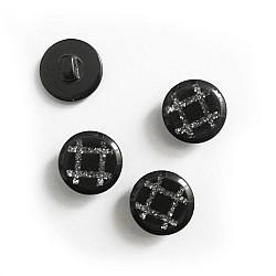 Nasturi cu picior - Negru cu argintiu, 20mm