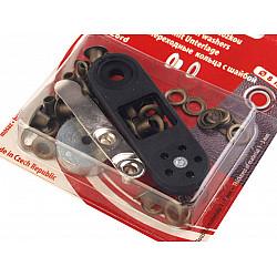 Ocheți metalici inoxidabili cu dispozitiv de atașare, Ø4 mm - alama antica