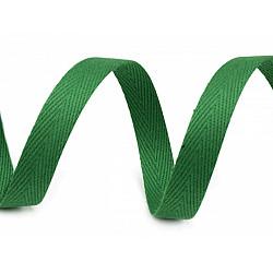 Banda din bumbac Herringbone, 10mm - Verde