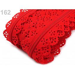 Fermoar spiralat dantelat, la metru, lățime spirală 3 mm, rosu mac