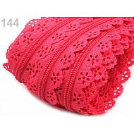 Fermoar spiralat dantelat, la metru, lățime spirală 3 mm, roz