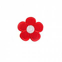 Aplicatie termoadeziva - Floare rosie - 5cm