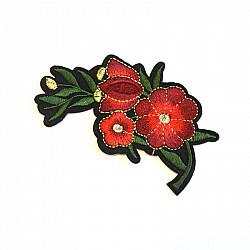 Aplicatie termoadeziva - Flori rosii rosii - 10.5x6 cm