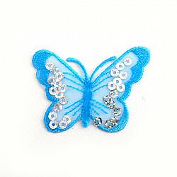 Aplicatie termoadeziva - Fluturasi cu paiete - 6.5x5 cm, Bleu