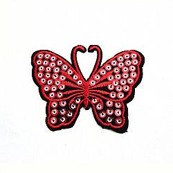 Aplicatie termoadeziva - Fluturi cu paiete - 8x5.5 cm, Rosu/negru