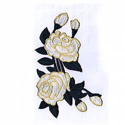 Aplicatie termoadeziva - Trandafiri alb/negru - 17x11cm