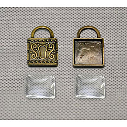 Baza cabochon bronz - lacat 20*20 mm, 4 buc.