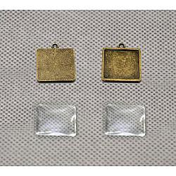 Baza cabochon bronz - patrat 20*20 mm, 4 buc.