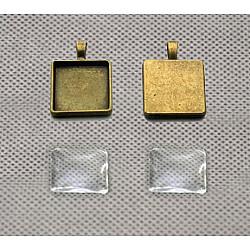 Baza cabochon bronz - patrat 25*25 mm, 4 buc.