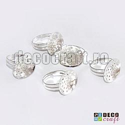 Baza inel argintiu cu sita - 6 buc.