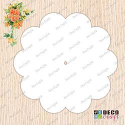 Cadran ceas, acril alb - Floare, 27cm