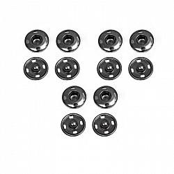 Capse pentru cusut - Negru - 11 mm, 6 buc.
