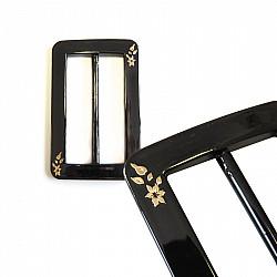 Catarama plastic cu model auriu - 50mm, Negru
