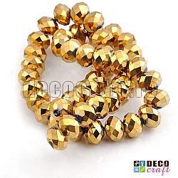 Cristale abacus - Auriu EP - 8mm, 60 buc