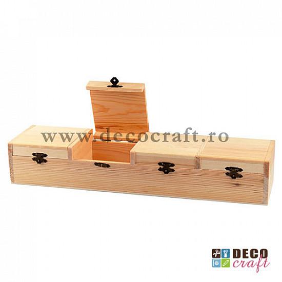 Cutie din lemn cu 4 compartimente individuale - 47x12x8cm