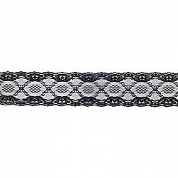 Dantela sintetica - Negru - 7.2 cm