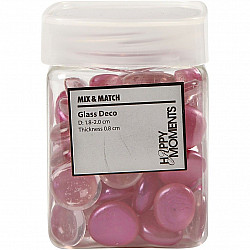 Deco pietre mozaic, roz, D: 18-20 mm, grosime 8 mm, 370g