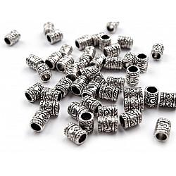 Mărgele metalice / capete șnur, 6x9 mm (pachet 10 buc.)
