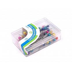 Bolduri cu cap din plastic, sidefate, lungime 38 mm - colorate