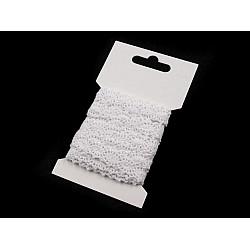 Dantelă croşetată din bumbac, lățime 12 mm (card 3 m) - alb