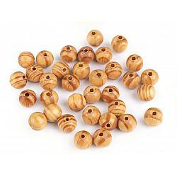 Mărgele din lemn dungate, Ø10 mm (pachet 10 g) - pin - deschis