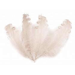 Pene crețe de găscă, lungime 12-18 cm (pachet 4 buc.) - bej deschis