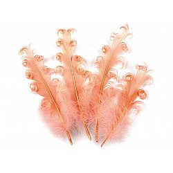 Pene crețe de găscă, lungime 12-18 cm (pachet 4 buc.) - roșu coral deschis