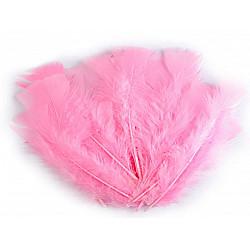 Pene decorative de curcă, lungime 11-17 cm (pachet 20 buc.) - roz baby