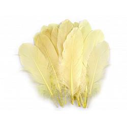 Pene decorative de gâscă, lungime 15-21 cm (pachet 5 buc.) - galben deschis