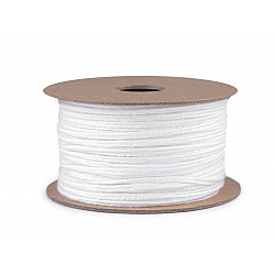 Șnur soutache din bumbac, lățime 4 mm (rola 20 m) - alb