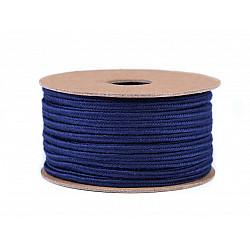 Șnur soutache din bumbac, lățime 4 mm (rola 20 m) - albastru închis