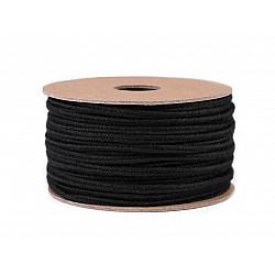 Șnur soutache din bumbac, lățime 4 mm (rola 20 m) - negru