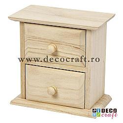 Dulapior din lemn natur, cu doua sertare - 13x7.5x13 cm