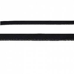 Elastic dantelat, 1cm - Negru