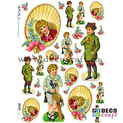 Hartie de orez A4 - Baieti cu flori
