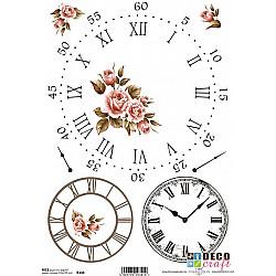 Hartie de orez A4 - Cadrane de ceas cu trandafiri