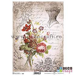 Hartie de orez A4 - Corset, flori si scrisori