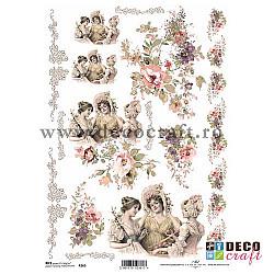 Hartie de orez A4 - Decor cu dame si flori