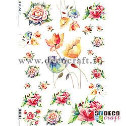Hartie de orez A4 - Flori in acuarela
