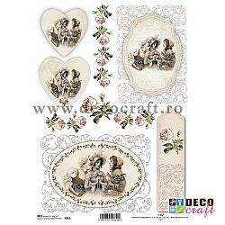 Hartie de orez A4 - Medalioane cu dame si flori