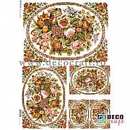 Hartie de orez A4 - Medalioane cu flori