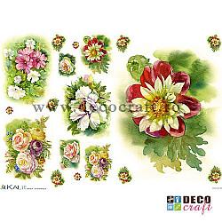 Hartie de orez A4 - Multe flori pictate (8img.)