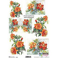 Hartie de orez A4 - Pictura cu flori portocalii