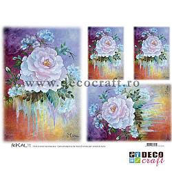 Hartie de orez A4 - Pictura cu trandafir alb (4img.)