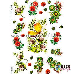 Hartie de orez A4 - Traditioanal cu flori si fluturi