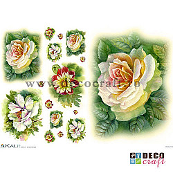 Hartie de orez A4 - Trandafiri albi pictati (8img.)